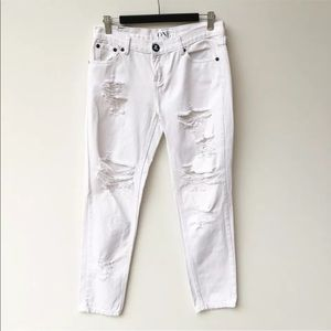 One Teaspoon White Distressed Straight Leg Jeans